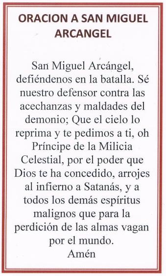 SanMiguel Prayer Card
