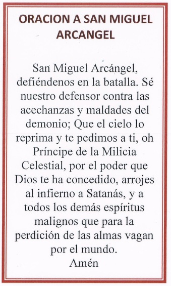 SanMiguel Prayer Card
