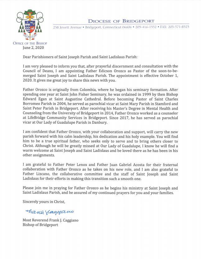 Announcement Letter - Fr. Orozco 6.3.20